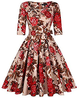 Feature: 1950s Rockabilly Vintage A-lined Midi Dress, Two-side Pockets, Knee-length, Sweetheart Neckline,Full swing, Zipper-up Back, Short sleeve & Long sleeve, Figure-flattering bodice, Fit and flare style Occasion: Suit for Cocktail dresses, Weddin...