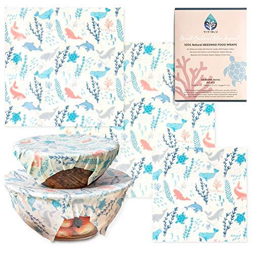 VIVIBLU Beeswax wrap – Pellicola alimentare in cotone e cera d'api – Fogli cerati plastic-free, eco-friendly e sostenibile – Involucro Ecologico, riutilizzabile, biodegradabile – Set di 3 taglie