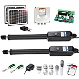 TOPENS AD8S Automatic Gate Opener Kit Heavy Duty Solar Dual Gate Operator for Dual Swing Gates Up to 18 Feet or 850 Pounds Gate Motor Solar Panel
