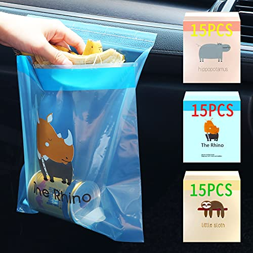 weeturelat Upgraded Car Trash Bag, 45pcs Easy Stick-On Disposable Car...