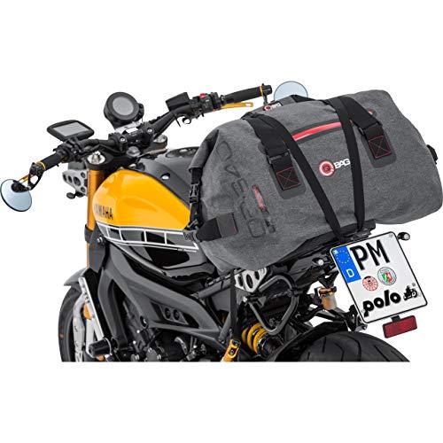 QBag Hecktasche Motorrad Motorradtasche Hecktasche/Gepäckrolle wasserdicht 09, inklusive anklickbarem Schultergurt, 2 stabile Tragegriffe, Netzinnentasche, großes Hauptfach, Dunkelgrau, 60 Liter