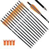Tiger Archery 20inch Hunting Archery Carbon Arrow Crossbow Bolts with 4' vanes Feather and Replaced Arrowhead/Tip(Pack of 12) … (Orange)