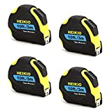HEIKIO 4-Pack Tape Measure, 10 Feet (3 Meters) Metric and Inches Scale, Self-lock Design, Double Release Button to Retract - Portable Measuring Tape with Belt Clip