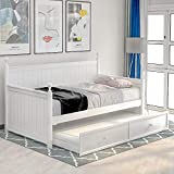 Solid Wood Daybed with a Trundle, Twin Size Bed Frame with headboard for Kids & Adults, Simple and Elegant Design, No Box Spring Required (White)