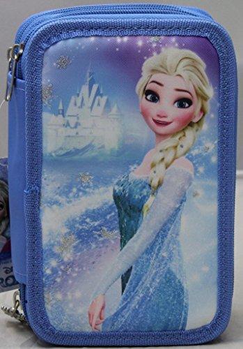 CARTOON WORLD Astuccio Scuola 45 Pezzi - 3 Cerniere - Disney Frozen Elsa