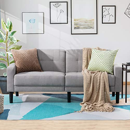 Vongrasig 63'' Small Modern Loveseat Couch, Mid-Century Low Back Fabric 2-Seat Sofa Couch Tufted Love Seat for Living Room, Bedroom, Office, Apartment, Dorm, Studio and Small Space (Light Gray)