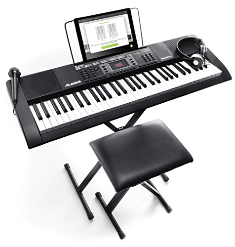 Alesis Melody 61 MKII - Teclado electrónico portátil con 61 teclas de estilo piano, altavoces integrados, auriculares, micrófono, soporte para piano, atril y taburete