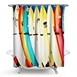 HMWR Summer Shower Curtain Surfing Skateboard Waterproof Polyester Fabric Bathroom Deco 72' x 72'