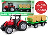 Toyland - Remorque de Tracteur et de balles Rouge 38 cm avec lumières et Sons -...