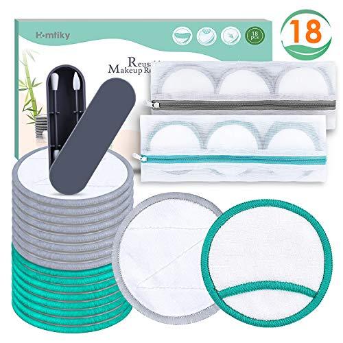 Waschbare Abschminkpads, 18 Wattepads aus Bambus & Samt 2 Wattestäbchen, Wiederverwendbare Abschminktücher Homtiky
