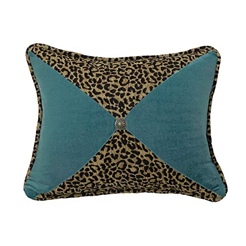 """HiEnd Accents San Angelo Leopard Chenille & Teal Velvet Pieced Throw Pillow, Brass Concho, 16"""" x 21"""", Leopard & Teal"""