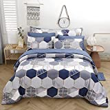 PERFEMET Blue Comforter Set Queen, 8 Piece Bed in A Bag, Geometric Bedding Comforter and Bed Sheet Sets (Comforter, 2 Pillow Shams, Flat Sheet, Fitted Sheet, Body Pillow Cover, 2 Pillowcases)