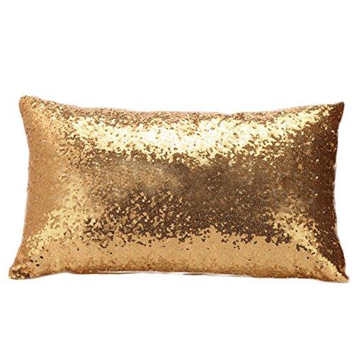 Dylandy - Federa per cuscino rettangolare con paillettes glitterate, per divano, casa, auto, ufficio, 30 x 50 cm, colore: oro