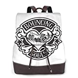 Yuanmeiju The Bouncing Souls Womens Leather Multifunction Backpack
