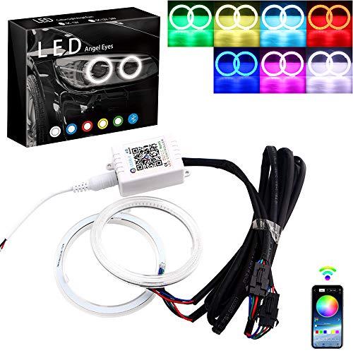 Anelli di luce multicolore RGB, LED Halo, COB 60SMD, controllo Bluetooth, per auto, Angel Eyes, luci diurne ad anello