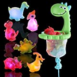 IPIGGO Light Up Floating Dinosaurs Bath Toy, Set of 7 Bathtub Toys with Drawstring Hoop and Suction Cup, Silicone Floating Squirts Animials Bathtime Toys for Kids Toddler, No RPA, Phthalate-Free
