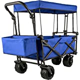 Happybuy Collapsible Wagon Cart Blue, Foldable Wagon Cart Removable Canopy 600D Oxford Cloth, Collapsible Wagon Oversized Wheels, Portable Folding Wagon Adjustable Handles, for Beach, Garden, Sports