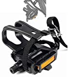 JIAHE Bike Pedals with Toe Clips and Straps Exercise Bike Pedals, Universal 9/16 Spindle Nylon Pedal Integrated for Universal BMX MTB Road Bikes Outdoor Cycling Indoor Stationary (Pedal)