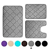 Buganda 3 Piece Memory Foam Bath Rugs Set - Extra Soft Velvet Non Slip Absorbent Bath Mats, Small Large Bathroom Rugs and Contour Mat, Grey