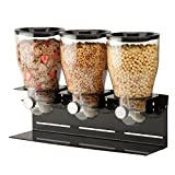 Zevro Commercial Plus Dry Food Dispenser, Triple Canister, Stainless Steel, Black/Chrome