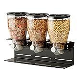 Zevro Commercial Plus Dry Food Dispenser, Triple Canister, Stainless Steel, Black/Chrome