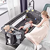 ADOVEL Baby Bassinet Bedside Crib, Pack and Play with Mattress, Diaper Changer and Playards from Newborn to Toddles