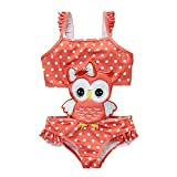 BEFULYAMO Baby Girls Adorable Owl Swimsuits One Piece Bathing Suit (4T) Red