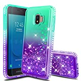 Atump Galaxy J2 2019 Case,Galaxy J2 Pure/J2 Dash/J2 Core/J260/J2 Shine Phone Case with HD Screen Protector, Glitter Liquid Diamond Cute TPU Silicone Cover Case for Samsung J2 Core Green/Purple
