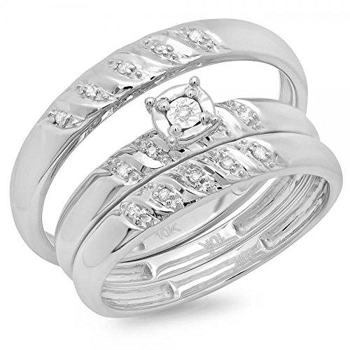 DazzlingRock Collection - Juego de Anillos de Compromiso de Oro Blanco de 10 Quilates con Diamantes Blancos Redondos para Hombre y Mujer