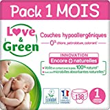 Love & Green Couches Taille 1 (2-5 Kg) - Pack 1 Mois (138 Couches)