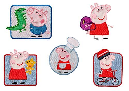 Mono-Quick Peppa Pig, 5er Set Toppe Ricamate da Cucire o Applicare con Il Ferro da Stiro, Poliestere, Multicolore, MD