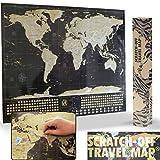 Scratch-Off Travel Map Carte Du Monde à Gratter XL (84 x 59 cm) - Noir et or...