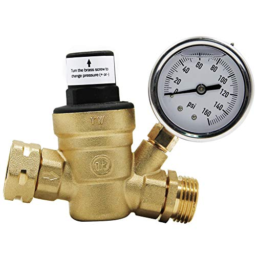 Twinkle Star RV Water Pressure Regulator Valve with Gauge and...