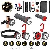 LIGGOO Kit Lumière Multifonction Mains-Libres Maison Lampe Torche + Lampe Frontale + Clip Aimanté Batterie Rechargeable USB Légère - Etanche Résistant aux Chocs Camping Caravane Mobil Home