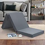 Olee Sleep Tri-Folding Memory Foam Mattress Topper, 4', Gray, Single size, Play Mat, Foldable bed, Guest beds, Portable bed