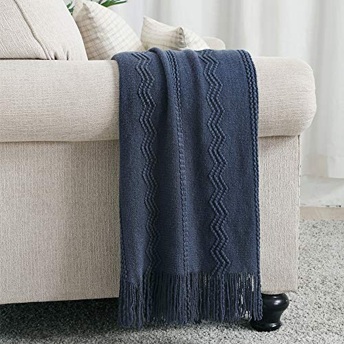 Bourina Throw Blanket Textured Solid Soft Sofa Couch Decorative Knitted Blanket, 50' x 60',Navy