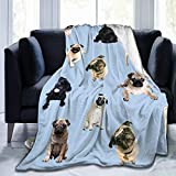 Hasdon-Hill Cut Pug Print Throw Blanket Smooth and Soft Blanket Kid Boy Adults for Sofa Chair Bed Office Travelling Camping 50'x60'
