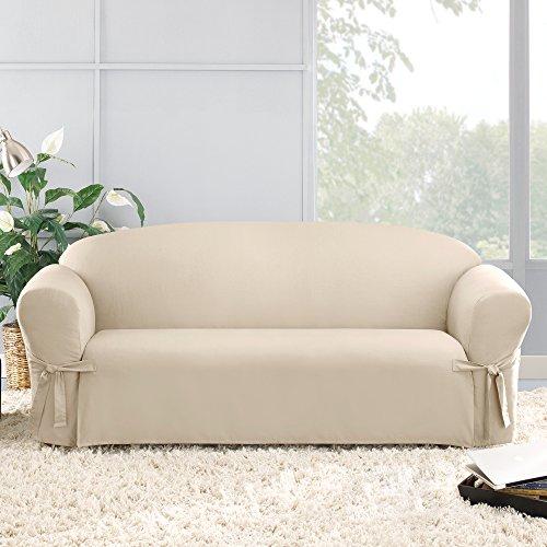 SureFit Cotton Duck One Piece Sofa Slipcover, Relaxed Fit, Corner Ties, 100% Cotton, Machine Washable, Natural Color