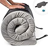 Zermätte Roll Up Memory Foam Camping Mattress | Portable Folding Sleep Mat, Pad & Topper for Floor | Single, Twin, Kids Guest Bed or Outdoor Cot, Lightweight w/Removable Waterproof Cover, Travel Bag