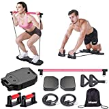 Megoal Portable Home Gym, Muscle Build Workout Equipment for Men and Women, Exercise Equipment with Resistance Bands, Abdominal Wheels and Pilates Bar, Fitness Equipment for Indoor Outdoor Travel