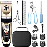 【ALL-IN -ONE】This dog grooming clippers also come with 11 tools: 1 × Pet clipper( included Battery),1 × AC Power Adapter,1 × Cleaning Brush,4 × Comb Attachments(3-6-9-12mm),1 × Stainless Steel Scissor,1 × Stainless Steel Comb,1 × Nail Clipper Kit,1 ×...