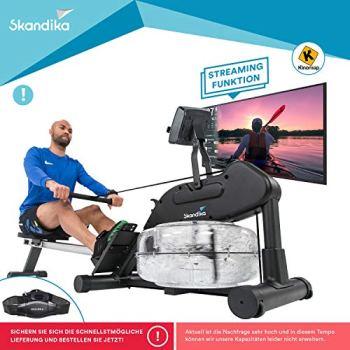 skandika Nemo III - Rameur à Eau - Sangle Cardio Incluse - 9 Niveaux de résistance - Pliable - Poids Max. 150 kg