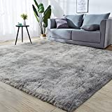 GKLUCKIN Shag Ultra Soft Area Rug, Fluffy 7'X10' Tie-Dyed Light Grey Rugs Plush Fuzzy Non-Skid Indoor Faux Fur Rugs Furry Carpets for Living Room Bedroom Nursery Kids Playroom Decor