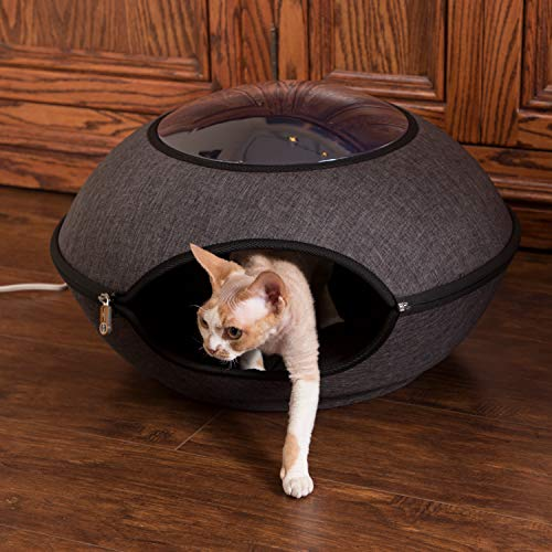 "K&H PET PRODUCTS Thermo-Lookout Pod Heated Cat Bed, Gray, 4W, 22"" Round"