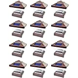 12 Pack Brown Outdoor Garden 4 x 4 Solar LED Post Deck Cap Square Fence Light Landscape Lamp Lawn PVC Vinyl Wood