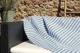Les Demoiselles de Tunis Très Grande fouta XXL de Plage Douceur Bali 150 x 250 cm - Bleu Clair, Bleu Jean et Bandes Blanches - Drap de Plage XXL - 100% Coton Doux