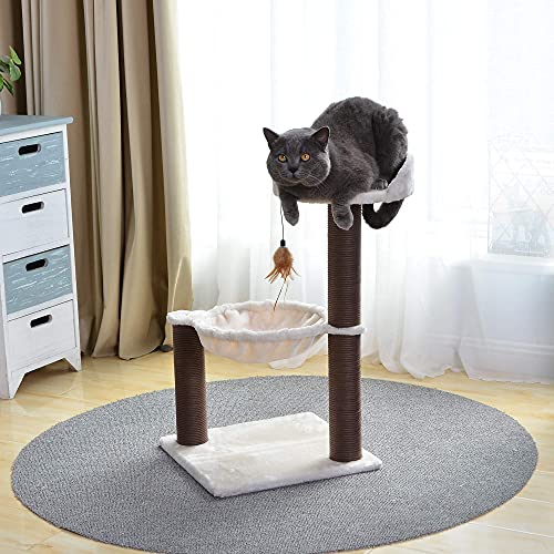 Catry Cat Tree with Feather Toy - Cozy Design of Cat Hammock Allure Kitten to Lounge in, Cats Love to Lazily Recline While Playing with Feather Toy and Scratching Post, (Innovative Arrival)