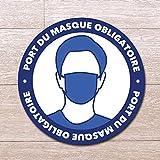 Autocollant rond : Port du Masque Obligatoire - Diamètre 20 cm - Lamination anti-UV