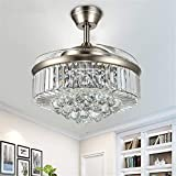 RuiWing 42'' Modern Fandelier Crystal Ceiling Fan with LED Light and Remote Control 3 Light Changes 3 Speeds Noise-Free Chandelier Ceiling Fan for Bedroom Indoor Living Room