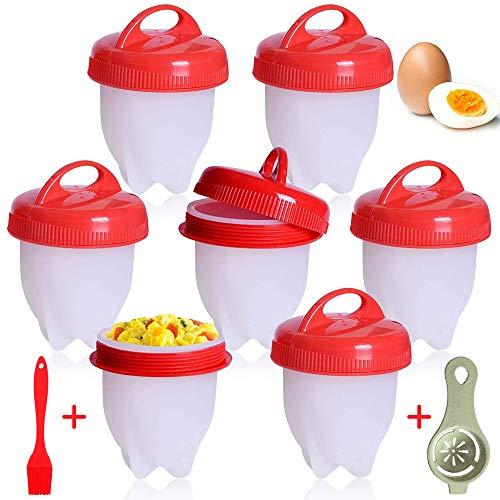 Cuociuova, 9 PCS Cuoci Uova Sode Senza Guscio, Silicone Cuociuova Bolli Uovo Fornello in Camicia Antiaderente Casa e Cucina Accessori per Uova Sode Egg Cooker BPA Free.